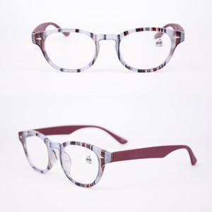 Diseñador de moda para mujer Gafas de lectura de color rosa azul en alta calidad con descuento en la bolsa y el paño Óvalo de la mujer Marco óptico