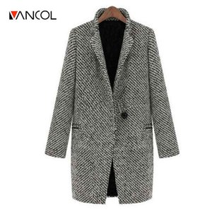 Wholesale- Vancol 2016 Winter European Slim Long Sleeved Grey Woolen Jacket Coat for Women Autumn Oversize Plus Size 4XL Winter Women Coat