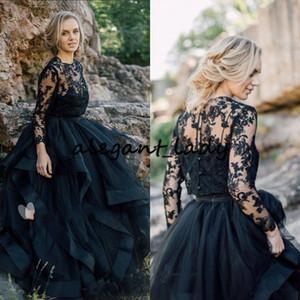 블랙 컨트리 고딕 웨딩 드레스 깎아 지른 neckline 레이스 신부 가운 저렴한 보헤미안 튤레 주름 장식이 긴 소매 로브 스키 복장 단추 신부