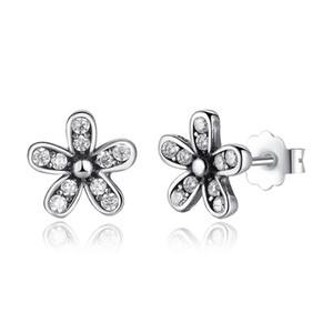 Authentic 925 Sterling Silver Dazzling Daisies Clear Crystal Earrings For Spring Women Girls Wedding Engagement Fashion Jewelry