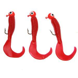 17pcs / Set morbida esche da pesca piombo Jig Hook Head Grub Worm soft esche silicone Shads Pesca Attrezzatura di pesca esche artificiali Lure