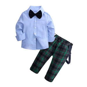 Toddler Boys Formal Clothing Sets Tie Blue Shirt + lattice Pants Suits 1 2 3 4 5 6 Years Cardigan Button Boy Gentleman Leisure Suit