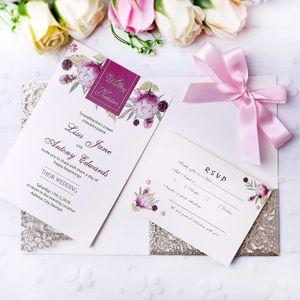 Yeni Düğün Şampanya Altın Glitter Düğün Davetiyeleri Için Burgundy Kurdele Ile Davetiyeleri Kartları Duş Nişan Doğum Günü Mezuniyet Davet