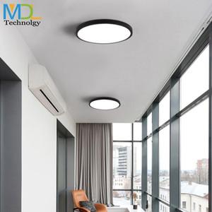 울트라 얇은 실용 5cm LED 천장 램프 철 사각형 라운드 블랙 / 화이트 천장 조명 침실 거실 조명