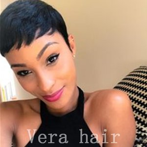 Short Human Hair Wigs With Baby Hair 4inch Peruvian Virgin Hair Straight Short Wig For black women