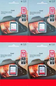 2019 80 МБ / с Высокоскоростной 32 ГБ 64 ГБ 128 ГБ Большой SD Class 10 C10 Карта памяти в блистерной упаковке для действий Спортивные камеры Видеокамеры