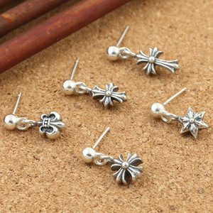 925 sterling silver American hand-made designer vintage jewelry antique silver oxidized crosses charm sterling silver post stud earrings