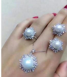Envío gratis venta caliente nuevo estilo mujeres hermosas naturales 9-10 mm 11-12 mm perla 925 anillo de plata esterlina del pendiente sólido