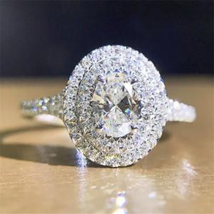 Nova Jóias de Luxo Real 100% 925 Sterling Prata Ovil Topázio Cz Diamante Gemstones Party Wedding Bonito Pave Band Band Amantes