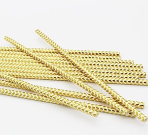 Paper Straws Metallic Gold heart star Foil Stripe Paper Straws Foil di carta d'oro Stripe Party Supplies