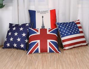 """Venta al por mayor Funda de Almohada Fundas de Colchón de Lino de Algodón Funda de Almohada American UK flag sofa Bed Pillow cubre Drop Shiping 18 """"x 18"""" pulgadas"""