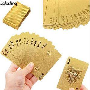 Liplasting Game Playing Cards 24K Gold Foil Plated Poker Gift Collection بطاقات دائمة للماء على سطح السفينة بطاقات دائمة للماء