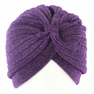 Envío gratis oro de invierno brillante de poliéster cap casquillo casquillo mujeres musulmán Beanie pañuelo de cabeza Skullies sombrero elástico gorros sombreros