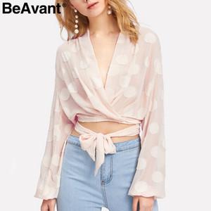 BeAvant V pescoço de bolinhas chiffon mulheres blusa Sash ocasional thirt manga longa blusa 2018 Elastic verão sexy transparente
