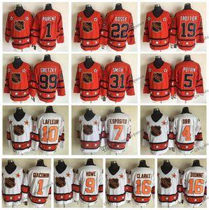 1980 All Star 10 Lafleur 9 Howe 16 DIONNE Clarke 1 Giacomin 7 Esposito 4 Orr 99 Gretzky Trottier Smith Bossy 1 Parent 5 Potvin Hockey Jersey