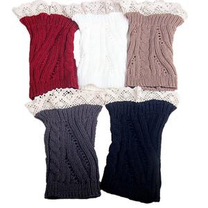 Женщина зима твист кружева вязаные гетры Вязание крючком вязать загрузки носки Ботворезы манжеты дизайнер леггинсы ноги носки 10 цветов