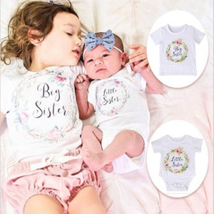 Fashion new trendy newborn kids baby white matching clothes print short sleeve big sisiter T-shirts outfits set little sisiter romper jumpsu