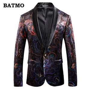 Batmo 2018 new arrival high quality printed casual blazers men,men's casual suits,printed men's jackets plus-size 9008