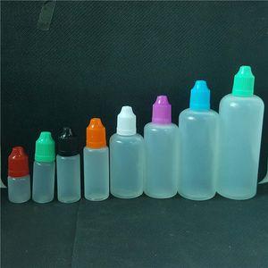 Vape Liquid Juice Bottle 5ml 10ml 15ml 20ml 30ml 50ml 60ml 100ml 120ml Soft Plastic Needle Dropper para Vaper E Cig Oil Eliquid