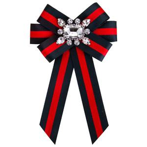 Nuevo arco de cristal de las mujeres broches de tela de lona Bowknot corbata corbata corsé broche para mujer ropa accesorios de vestir