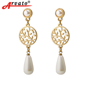 Arvato 2018 new Korean Ethnic Geometric hypoallergenic pearl drop earrings vintage minimalist golden wedding earrings for women C18110801