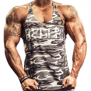 Gyms Camuflaje Imprimir Singlets Hombres Tank Tops Camisa, Culturismo Equipo Fitness Hombres Golds Stringer Tank Top Venta caliente Ropa