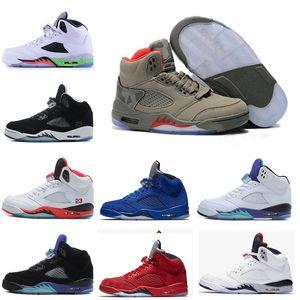 أحذية رجالي رخيصة أحذية كرة السلة 5 فولت الأحمر الجلد المدبوغ الأولمبية لامع الفضاء مربى الثور الأزرق عارضة الرياضة أحذية رياضية أحذية المدى الحرة