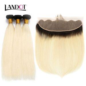 9А Ombre 1B / 613 Bleach Blonde Lace Затворов с 3 Связкой бразильского Straight Virgin Human Плетение волос перуанской малазийского русского Remy волосом