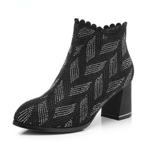 Hot Selling 2018 Autumn and Winter New Fashion Black Rhinestone Genuine Leather Boots Women Pointed Comfort Martin Boots Women Warm Shoes