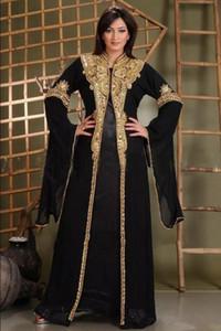 2019 Dubai Kaftan vestidos de noche con mangas largas con cuentas de oro gasa Abaya negro de baile vestidos formales