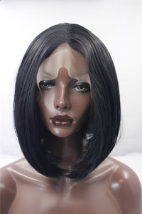 Middle part BLACK synthetic wIGS lace front wigs marley fashion high quality cheap bob style lace front wigs bob wig for black women