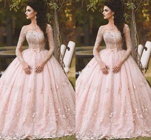Vestidos de noche de manga larga rosa vestido de bola de bola de encaje apliqueado bow sheer cuello 2021 vintage dulce 16 niñas debutantes Vestidos de fiesta envío gratis