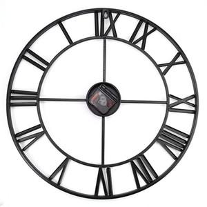 18.5 인치 대형 3D 아이언 장식 벽시계 레트로 빅 아트 기어 로마 숫자 디자인 The Clock On The Wall