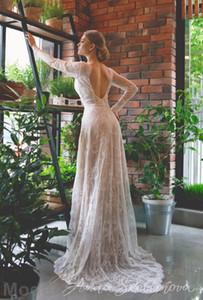 Prinzessin Vintage Spitze Brautkleider 2019 Langarm tiefem V-Ausschnitt Open Back bodenlangen Plus Size Brautkleider Boho Custom Made