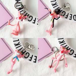 New Arrival Pink Panther Keychain Keychain for Women Bag Plastic Cartoon Pink Panther Key Chain Porte Clef Car Pendant Gift