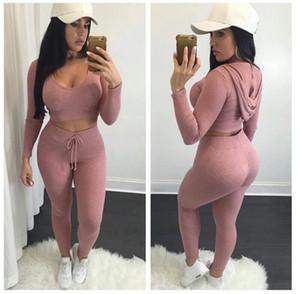 Eur Fashion Top Crop Top with Leggings Pants 2 Pcs \ Set ملابس رياضية محبوكة عالية الورك الصلبة