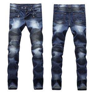 Erkek Sıkıntılı Jeans Moda Erkek Şort Kot Dar Kesim Motosiklet Moto Biker Nedensel Erkek Denim Pantolon Hip Hop Men Ripped