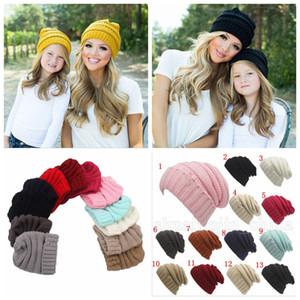 Eltern Kinder-Hüte Baby-Moms 13 Farben Winter Strickmützen Warm Hauben Crochet Schädel Caps im Freien Hut OOA5942-4