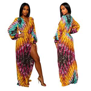 Multi Color Print Maxikleid Tiefem V-Ausschnitt Langarm Sexy Front Open High Slit Full Length Langes Kleid Strandkleider
