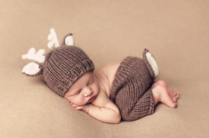 Handmade Crochet Malha Chapéu Do Bebê Calças Set Bebê Recém-nascido Foto Adereços Fotografia Para 0-6 Meses de Natal Traje Do Projeto Dos Cervos