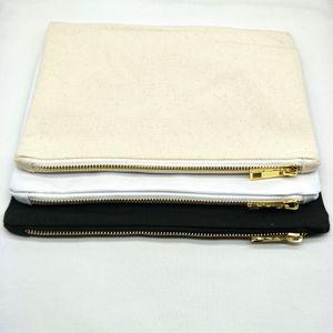 7x10inch Blank mit Make-up aus der Tasche kosmetische Gold-Leinwand-Tasche Metallbestand-Reißverschluss direkt schwarz / weiß / Elfenbein Kulturwaren Tasche FA ABMD