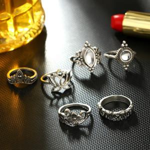 Hübsche Hochzeit Ringe Sets 5pcs / Set Ringe Ringe Set klassische Form, Muster, Kristallanhänger Schönen Charm Schmuck