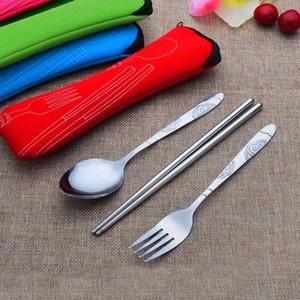 Портативный Путешествия 3 шт 1 комплект из нержавеющей стали Столовые приборы сумка вилка Kit Открытый Silverware Кухня Столовая