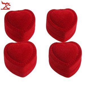Mini-nette rote tragende Fälle faltbares rotes Herz-geformter Ring-Kasten für Ring-Deckel-geöffnete Samt-Schaukarton-Schmucksache-Verpackung 24Pcs heiß