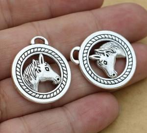 Charms 50pcs liga Cabeça de cavalo antigo encantos de prata pingente de colar Para fazer jóias descobertas 25mm