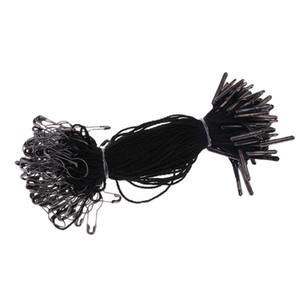 1000 pcs. Cadena de etiquetas colgantes negras con pera de seguridad en forma de pera negra, 10,5 cm, buena para colgar etiquetas de prendas