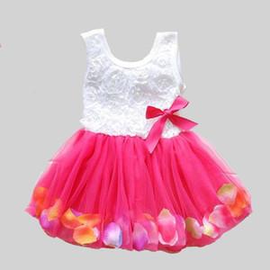 Verão Novo Algodão Bebê Infantil Conto De Fadas Pétalas Colorido Vestido de Chiffon Princesa Do Bebê Recém-nascido Vestidos de Presente