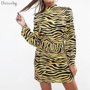 Женщины новый сексуальный дамы платье мода тонкий с длинными рукавами обратно выдалбливают платье женщин Повседневная Тигр печати платья Deturbg Dr331