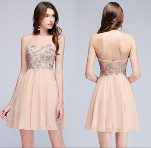 2018 Cheap Chiffon Short Homecoming Dresses Sweetheart Lace Applique Beaded Pears A Line Formal Party Cocktail Prom Dresses CPS955
