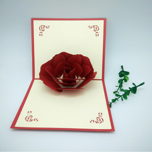 Mother's Day 3D Pop Up Rose Cards Invitations Valentine Lover Love Romantic Wedding Anniversary Greeting Cards Gift Postcard